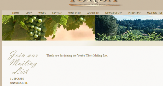 Yorba Wines - Subscribe Success