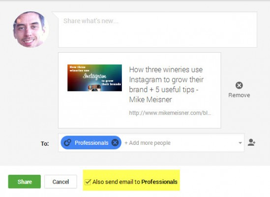Emailing with Google Plus