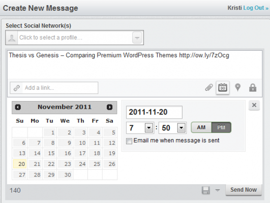 Schedule twitter posts with Hootsuite